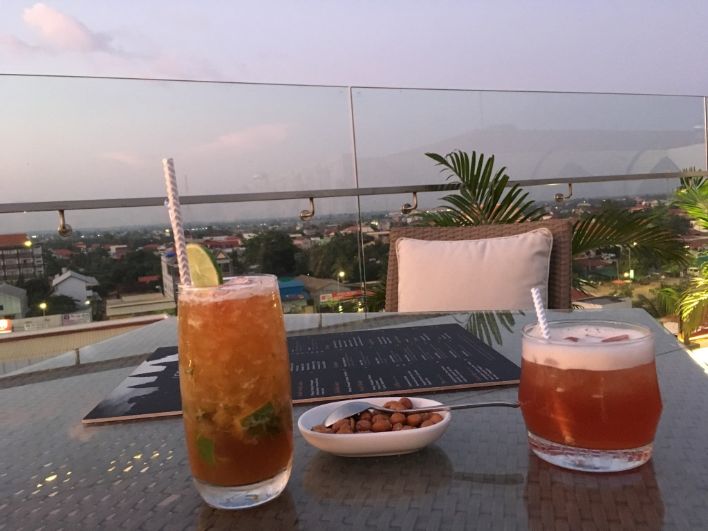 Watching sunset at a rooftop bar in Siem Reap, Cambodia.