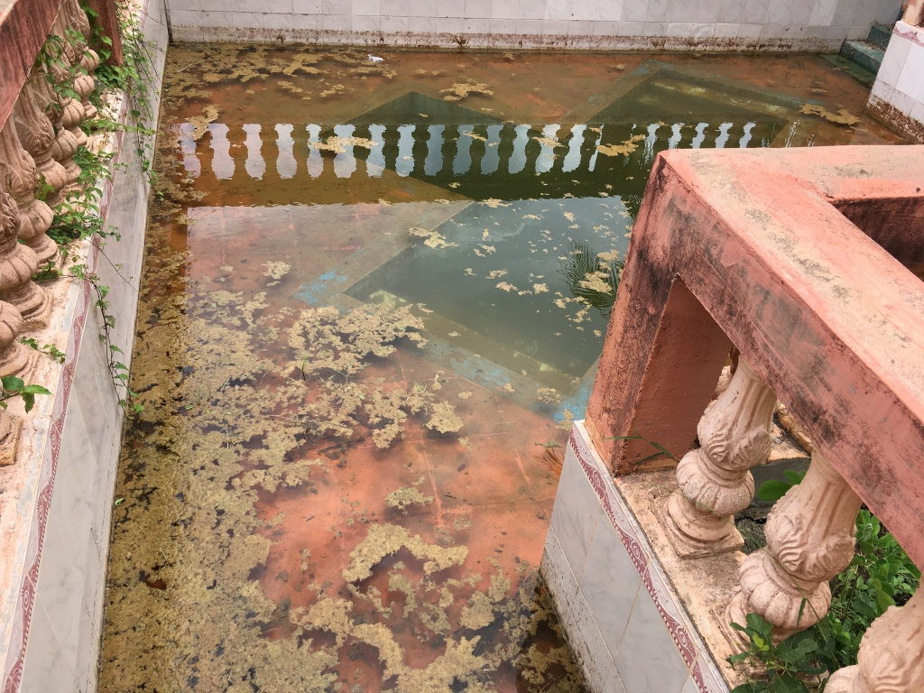 An outdoor baptism pool filled with dirty water and mosses.