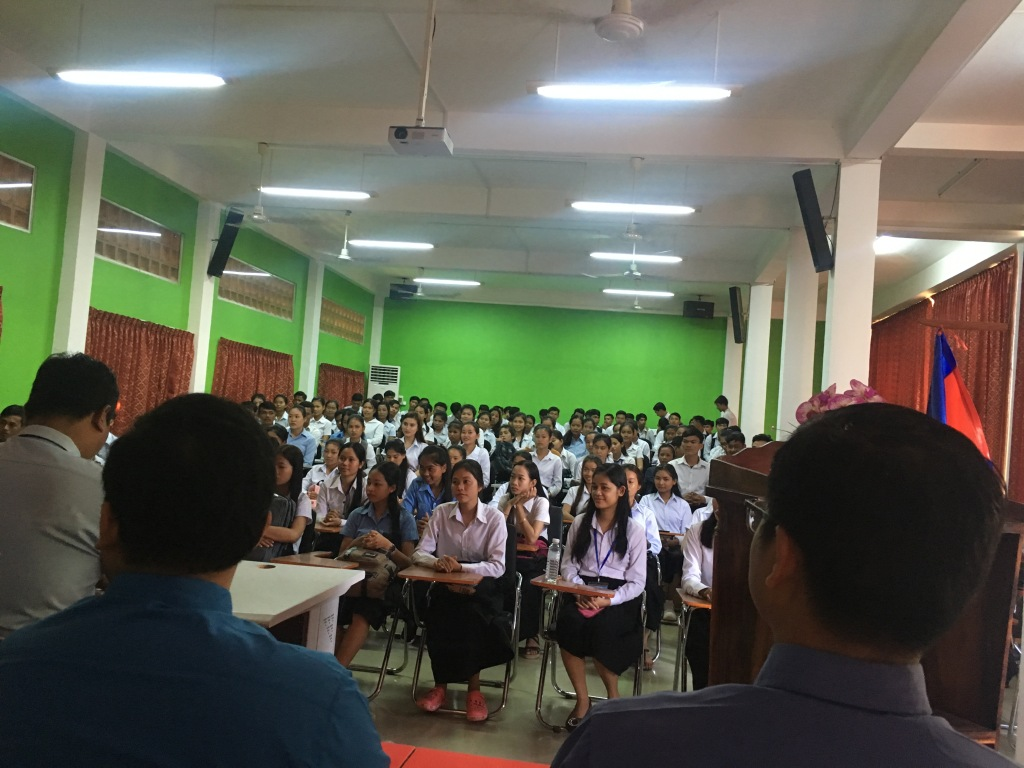 Back-to-school ceremony on the first day of school in the college.  National anthem was also played during the ceremony.  Everyone needs to stand up when the national anthem is played.