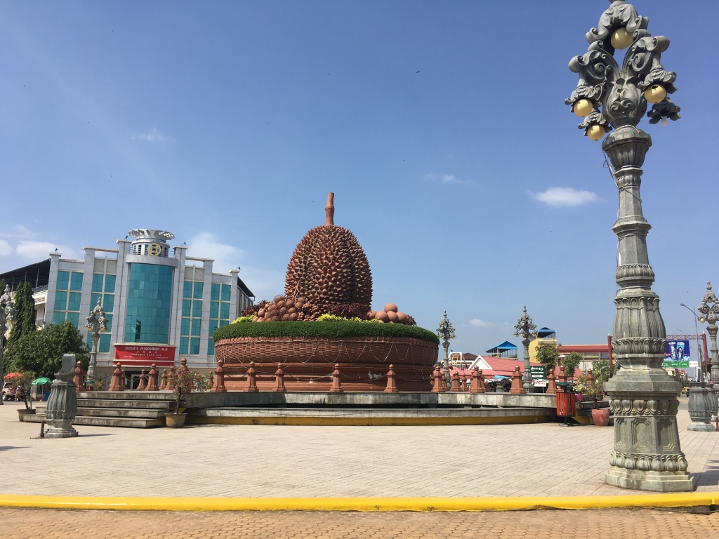 The landmark of Kampot - big durian.  Kampot durians are very famous but November is not the season.